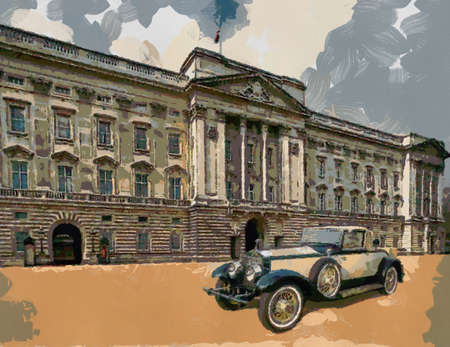 moderate: Phantom II Henley Roadster in front of Palace. Oil Painting (moderate abstract style). Stock Photo