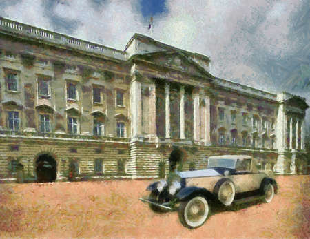 roadster: Phantom II Henley Roadster in front of Palace. Oil Painting (Monet Style). Stock Photo