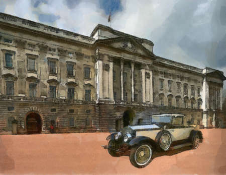 Phantom II Henley Roadster in front of Palace. Poster Painting. Stock Photo - 8363289
