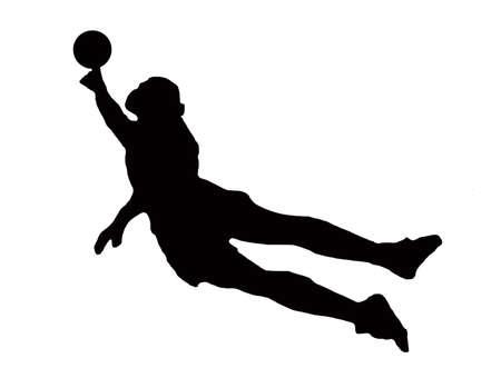 diving save: Sport Silhouette - Soccer Goalie dive defending goal  Stock Photo
