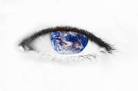 astrologist: Eye with Earth as its cornea symbolizing caring for our planet (perspective)