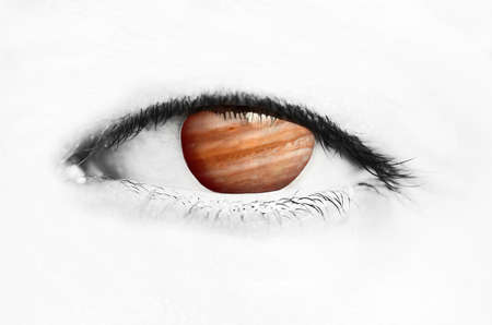 astrologist: Eye with Jupiter as its cornea symbolizing night vision or planet watching