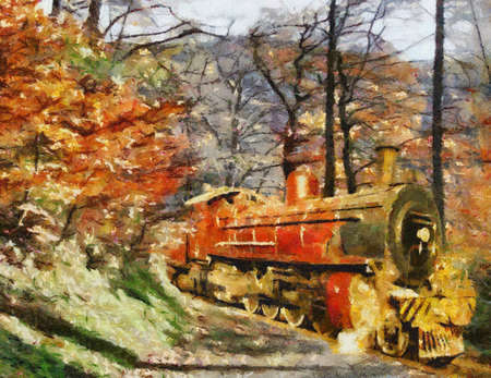 Orange steam train driving through forest (Oil painting - Camille Style) photo