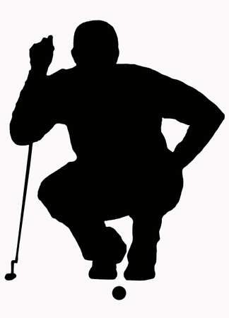 Silueta de deporte - Sizing de golfista acondicionados Foto de archivo