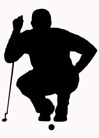 put: Sport Silhouette - Golfer Sizing put up Stock Photo