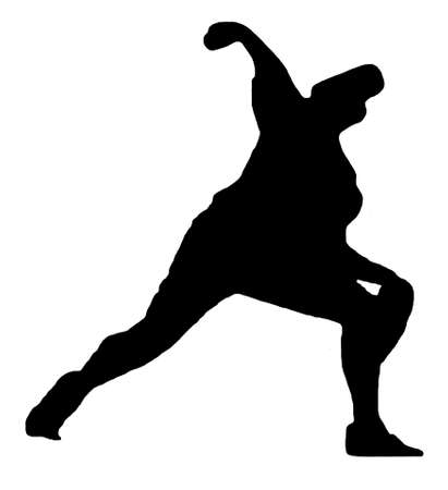 Sport Silhouette - Baseball Pitcher throwing ball photo