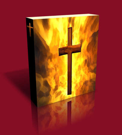 3D Burning Cross Book Cover or Box Art (Red Background) photo