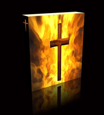 3D Burning Cross Book Cover or Box Art Black Background) Stock Photo - 8403052
