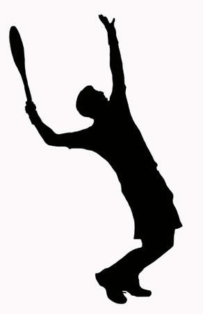 serve: Sport Silhouette - Tennis Player Serving - Ball in air Stock Photo