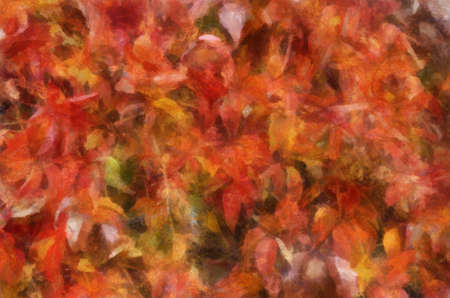 Fuzzy Virginia Creeper leaves background oil painting photo