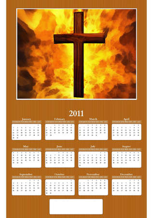 2011 Annual Calendar - Flaming Christian Cross photo