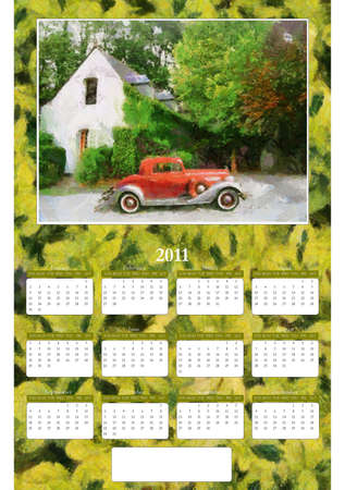 Annual Calendar - Vintage Car with green Foliage Background Stock Photo - 8491927