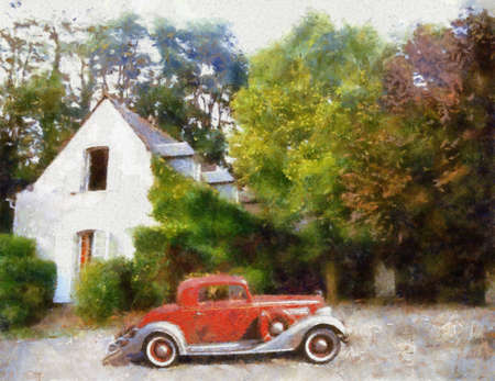 bonnet illustration: Buick 1934 Sports Coupe parked in front of farm house Oil painted