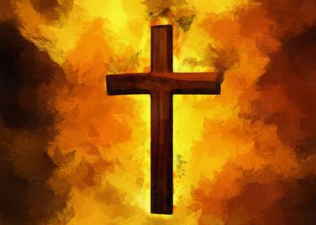 destroying: Flaming Cross Christian Art (Vector) Illustration