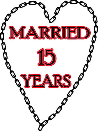 humoristic: Humoristic marriage  wedding anniversary � chained for 15 years Stock Photo