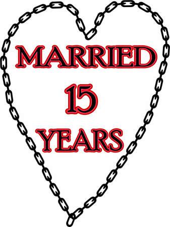 humoristic: Matrimonio humor�stico  Escapadas ? aniversario encadenado durante 15 a�os Foto de archivo