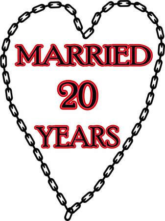 humoristic: Matrimonio humor�stico  Escapadas ? aniversario encadenado durante 20 a�os Foto de archivo