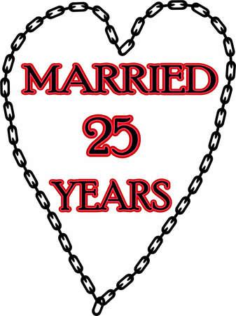 humoristic: Humoristic marriage  wedding anniversary � chained for 25 years Stock Photo