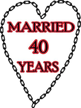 humoristic: Humoristic marriage  wedding anniversary � chained for 40 years Stock Photo