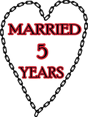 Humoristic marriage  wedding anniversary � chained for 5 years