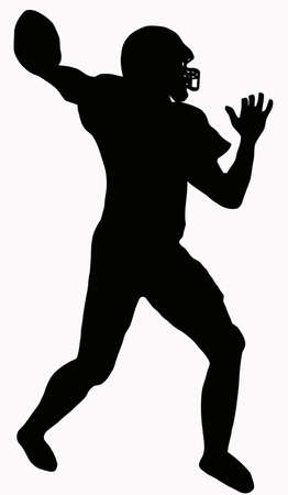 football player: Sport Silhouette - American Football player making ready to throw pass