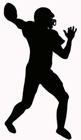voetbal silhouet: Sport Silhouette - American Football speler die klaar om te gooien pass  Stock Illustratie