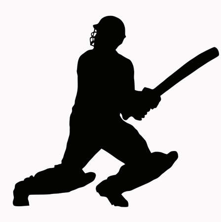 cricket: Sport Silhouette - Cricket Batsman hitting ball