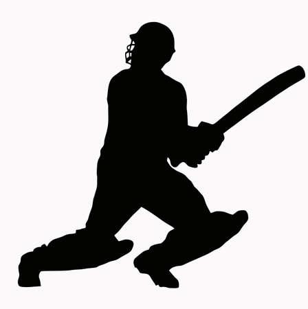 crickets: Sport Silhouette - Cricket Batsman hitting ball