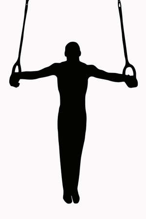 gymnast: Sport Silhouette -Gymnast on rings with straight body in horizontal hold