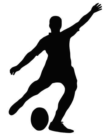 voetbal silhouet: Sport Silhouette - Rugby Football Kicker plaats schoppen de bal