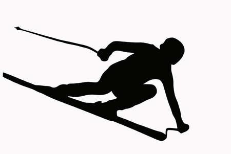 the slope: Sport Silhouette - Skier speeding down slope