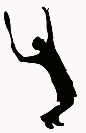 tennis serve: Sport Silhouette - Tennis Player Serving - Ball in air Illustration