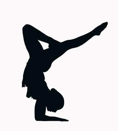 gimnastas: Silueta de deporte - gimnasta femenina haciendo brazo stand aislado imagen negro sobre fondo blanco Vectores