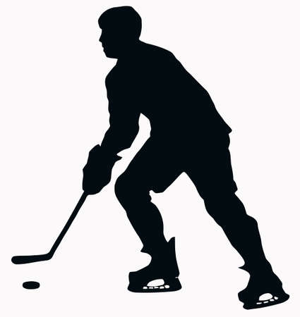 ice hockey player: Sport Silhouette - Ice Hockey Player isolated black image on white background