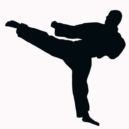 martial art: Sport Silhouette - Karate Kick isolated black image on white background Illustration