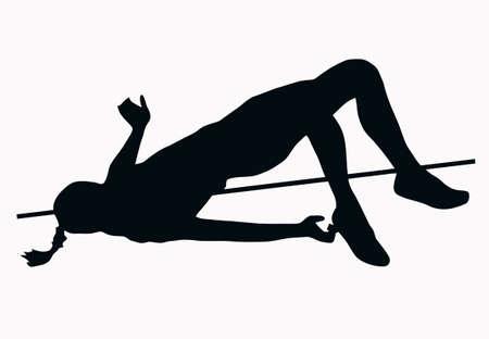 salti: Lo sport Silhouette - femmina alta Jumper isolato immagine nero su sfondo bianco Vettoriali