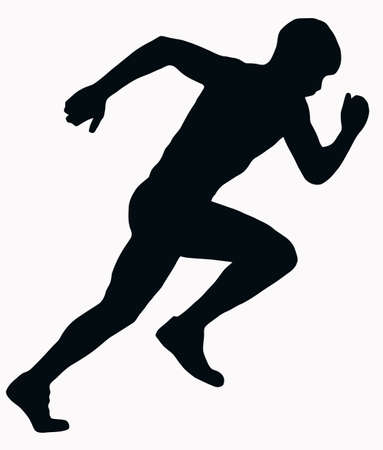 sprint: Sport Silhouette - Male Sprint Athlete isolated black image on white background Illustration
