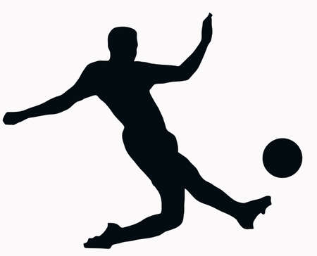 kicking ball: Silueta del deporte-futbolista patear bola aislados imagen negra sobre fondo blanco