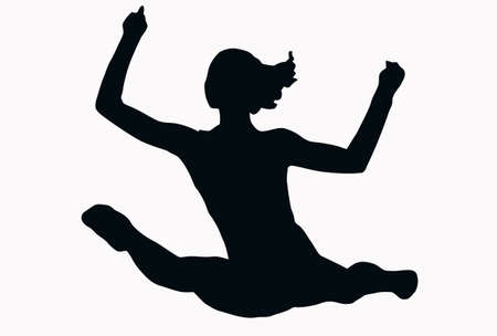 split: Sport Silhouette - Female Gymnast performing splits isolated black image on white background