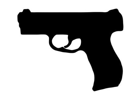 dangerous weapons: Isolated Firearm - Pistol � black on white silhouette