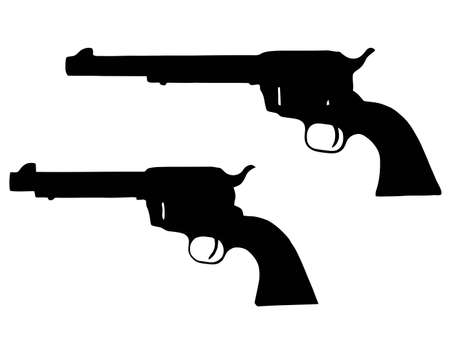 gun barrel: Isolated Firearm - Revolvers (5 and 9 inch) � black on white silhouette