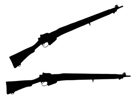 wwii: Isolated Firearm - WWII Rifle (303 caliber) � black on white silhouette