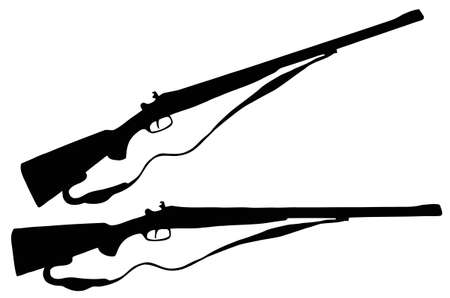 shooting gun: Isolated Firearm - Large caliber (Elephant) hunting rifle � black on white silhouette Illustration