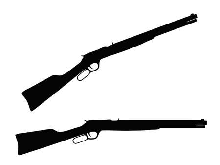 Isolated Firearm - Western type Rifle � black on white silhouette