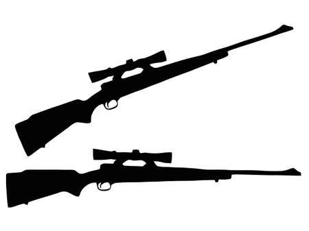 gun fire: Isolated Firearm - Rifle with Scope � black on white silhouette