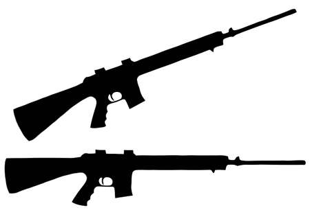 automatic: Isolated Firearm - Automatic Rifle � black on white silhouette