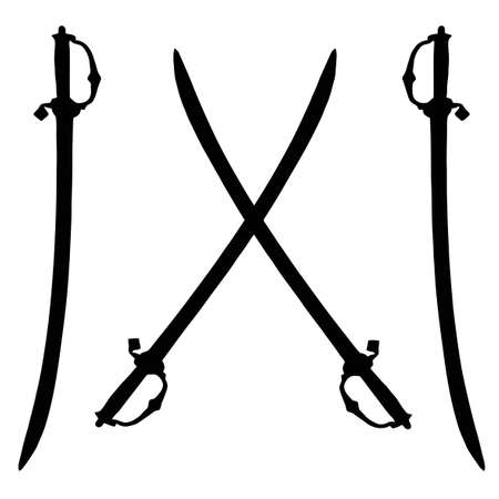 Isolated Weapon - Sword � black on white silhouette Ilustração