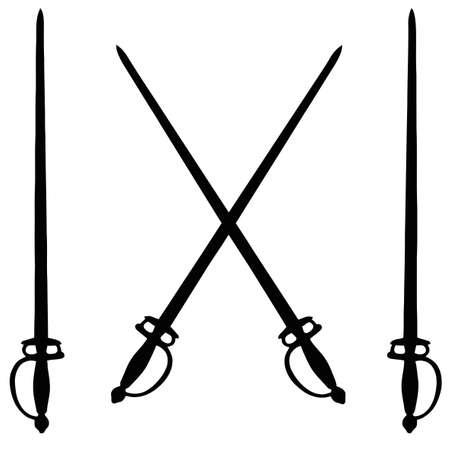 fencing: Isolated Weapon - Sword � black on white silhouette Illustration