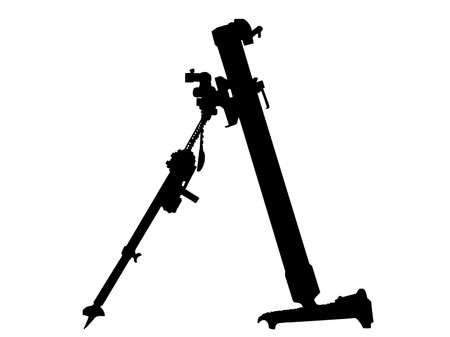 mortero: Segunda Guerra Mundial Serie-lanzador de mortero alem�n 8 cm Schwere Granatwerpfer 34  Vectores