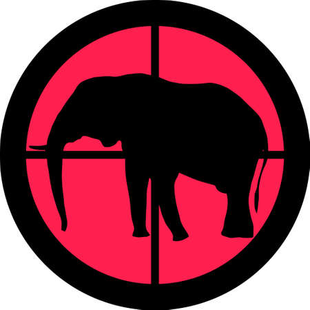 In the scope series - Elephant in the crosshair of a gun�s telescope. Can be symbolic for need of protection, being tired of, intolerance or being under investigation. Stock Vector - 8763833